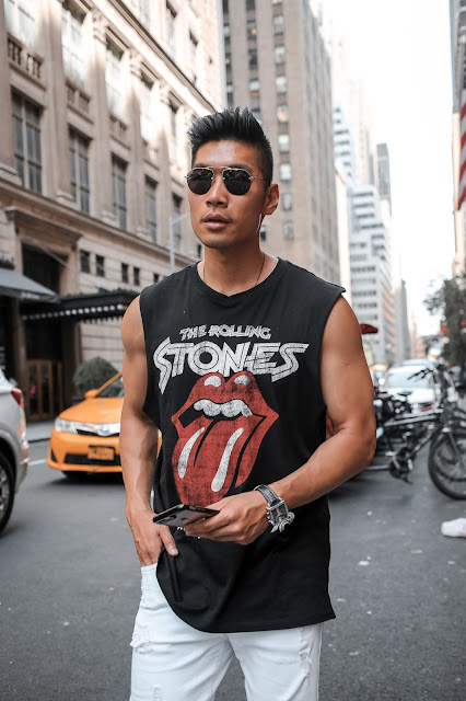 Leo Chan, Levitate Style, wearing a Rolling Stones Sleeveless Shirt