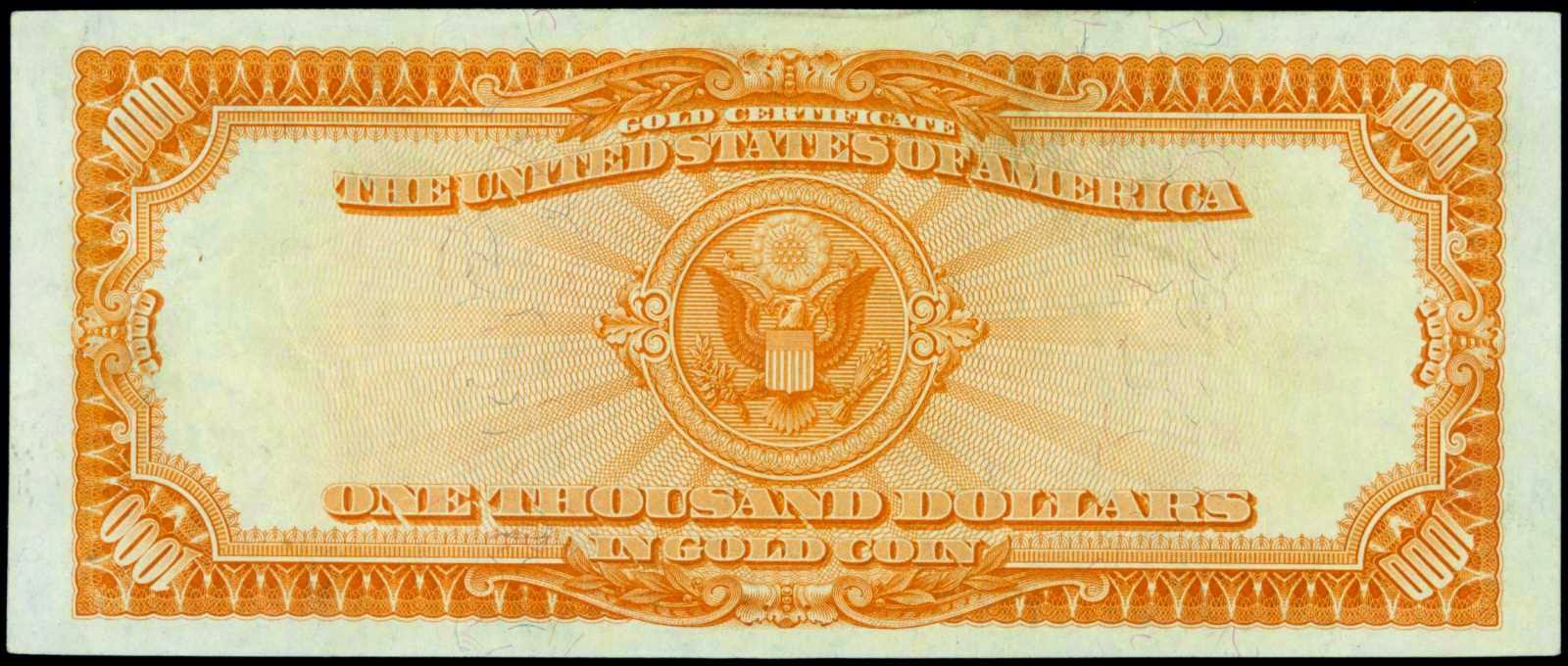 United States cueewncy 1000 Dollars Gold Certificate