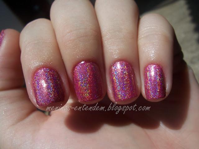 esmalte rosa holográfico da glitter gal