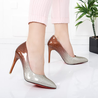 Pantofi Madona maro cu argintiu cu toc stiletto
