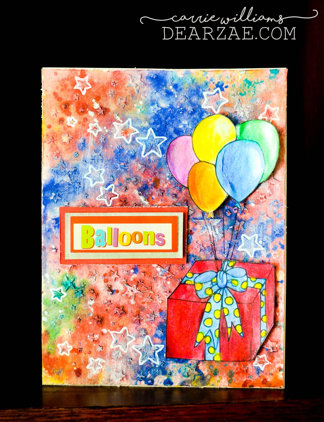 mixed media birthday card with stencil and texture paste, star background, colorful background with balloons done in gelattos