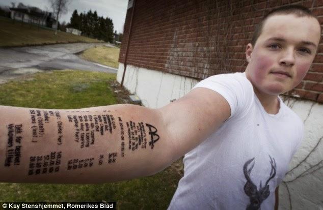 38f41ae13 Norwegian Teen Stian Ytterdahl has his McDonald's Dinner Receipt Tattooed on  his Arm