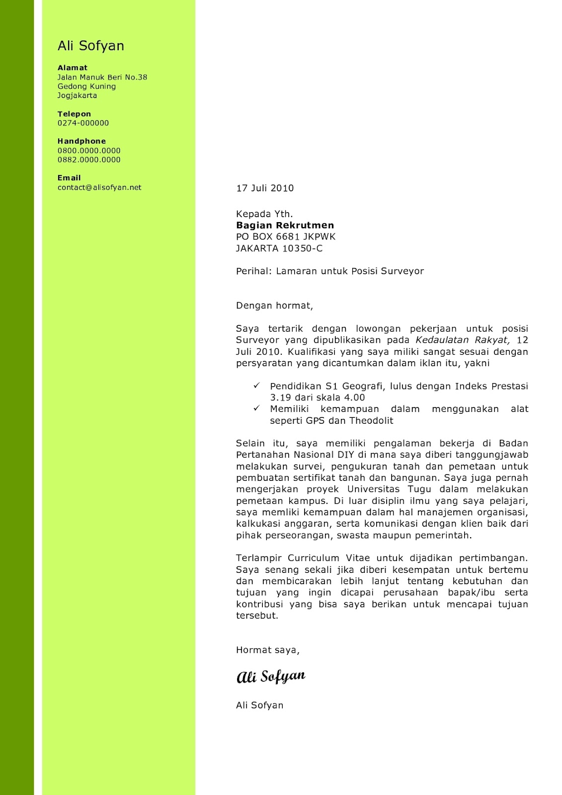 Sample Application Cover Letter Sample Application Letter For Fresh