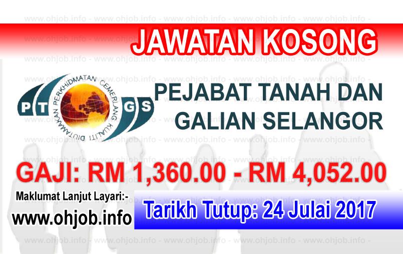Jawatan Kerja Kosong Pejabat Tanah dan Galian Selangor - PTGS logo www.ohjob.info julai 2017