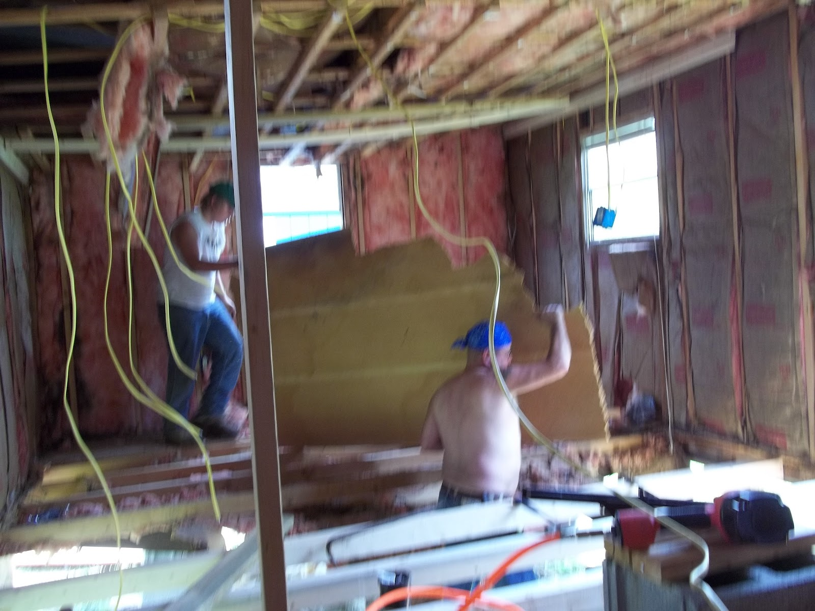 ceiling down i love my family such hard workers it was over 100 degrees in the mobile home  [ 1600 x 1200 Pixel ]