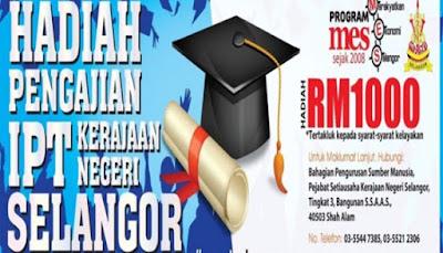 Permohonan Hadiah Pengajian IPT Selangor 2018 Online