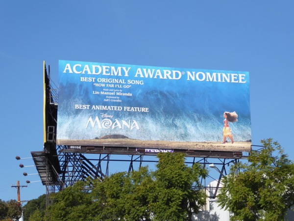 Moana Academy Award Nominee billboard