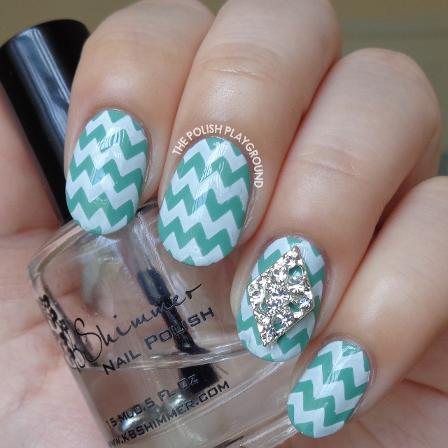Green and White Chevron Stamping Nail Art