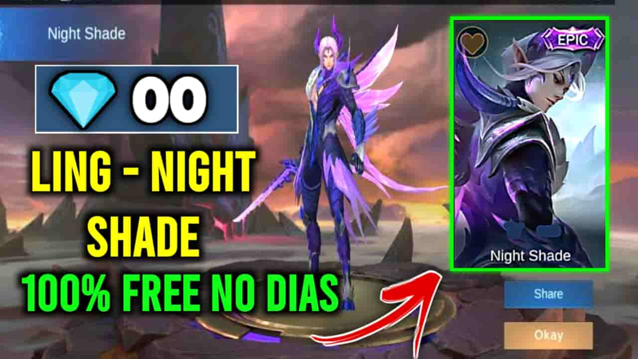 ling nightshade, ling night shade, ling dragon tamer, how to free skin mobile legends, mobile legends free skin