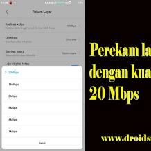 Trik Merekam Layar Android dengan Audio System dan Jernih Qualitas 20 Mbps
