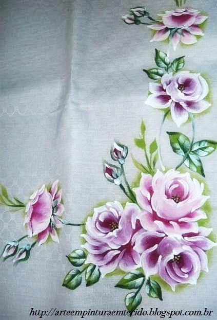 pintura em tecido toalha de mesa pintada a mão