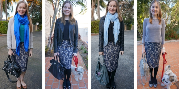 4 ways to layer a blue textured pencil skirt for winter with scarves jackets tights | awayfromblue