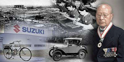 Sejarah Perusahaan Suzuki         Suzuki Motor Corporation adalah perusahaan Jepang yang memproduksi kendaraan seperti mobil dan sepeda motor. Mereka memiliki tempat produksi yang terletak di lebih dari 22 negara. Pesaing utama mereka adalah Toyota, Ford, Honda, dan Daihatsu. Sementara partner mereka adalah Nissan, Mitsubishi, Mazda, dan Volkswagen. Pada awalnya General Motors memiliki saham mayoritas di Suzuki. Kini Grup Volkswagen telah membeli 19,9% saham suzuki.  Suzuki memiliki permulaan yang rendah hati di Jepang sebagai sebuah perusahaan di dangau 1909. Pemilik, Michio Suzuki diinvestasikan dalam dangau untuk membuat mesin-mesin produksi lebih efisien dan menguntungkan. The keuntungan dari dangau produksi tetap mengalami pertumbuhan harga melalui 30 tahun span. Pada saat itu, perusahaan memiliki kekayaan yang cukup untuk berinvestasi di industri lain. Dalam upaya diversifikasi produk mereka, Suzuki diinvestasikan dalam produksi mobil kompak. Mobil suzuki dari warisan dimulai pada 1937. Pertama yang sported model Suzuki 13 daya kuda, empat silinder mesin. Namun, pada serangan hebat dari Perang Dunia II (WWII) Amerika perselisihan produksi dihentikan. Sekali lagi perusahaan investasi mereka kembali ke dangau perusahaan yang akhirnya akan melihat kematian di tahun 1950-an.  Setelah kembali dari WWII membeli peluang investasi dalam industri transportasi. Selama 1950 Suzuki rekayasa