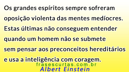 grandes espíritos oposição a mentes medíocres, frases Albert Einstein