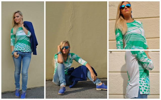 t-shirt felicia magno outfit stringate blu blazer blu outfit verde outfit primaverili outfit maggio 2016 mariafelicia magno fashion blogger blogger italiane