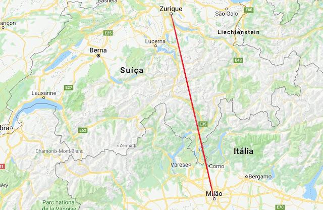 Mapa da viagem de Milão a Zurique
