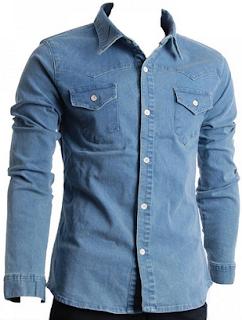 kemeja kerja bahan jeans