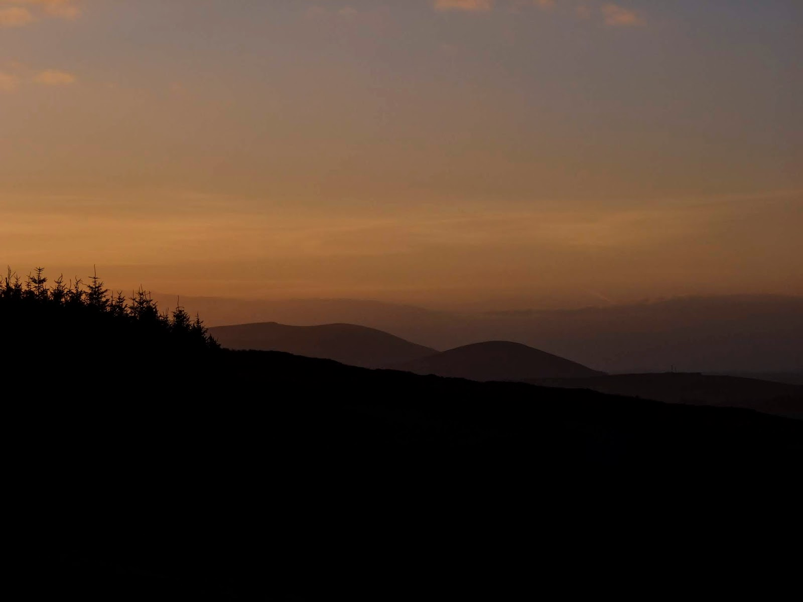 A forest and mountain landscape at sunset in North Cork.