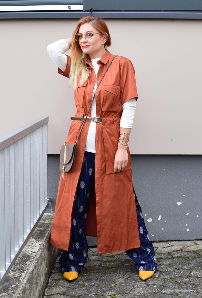 Palazzohose und Kleid zusammen kombinieren, Rostrot, Herbstfarben