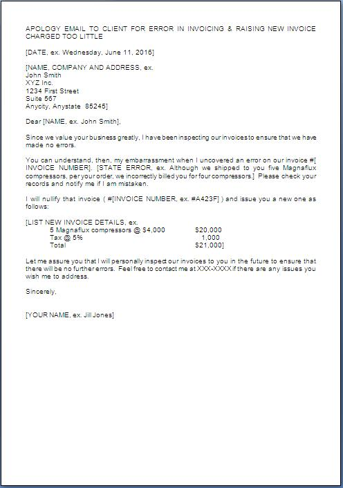 Apology Letter To Customer For Wrong Billing* Sample Template