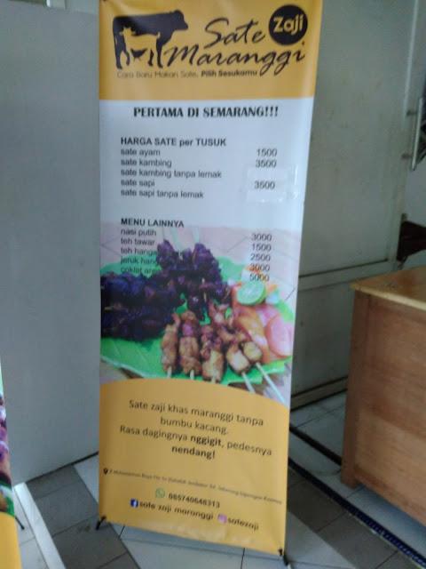 Pricelist Sate Zaji Maranggi Semarang
