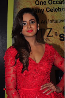 Actress Model Parul Yadav Stills in Red Long Dress at South Scope Lifestyle Awards 2016 Red Carpet  0017.JPG