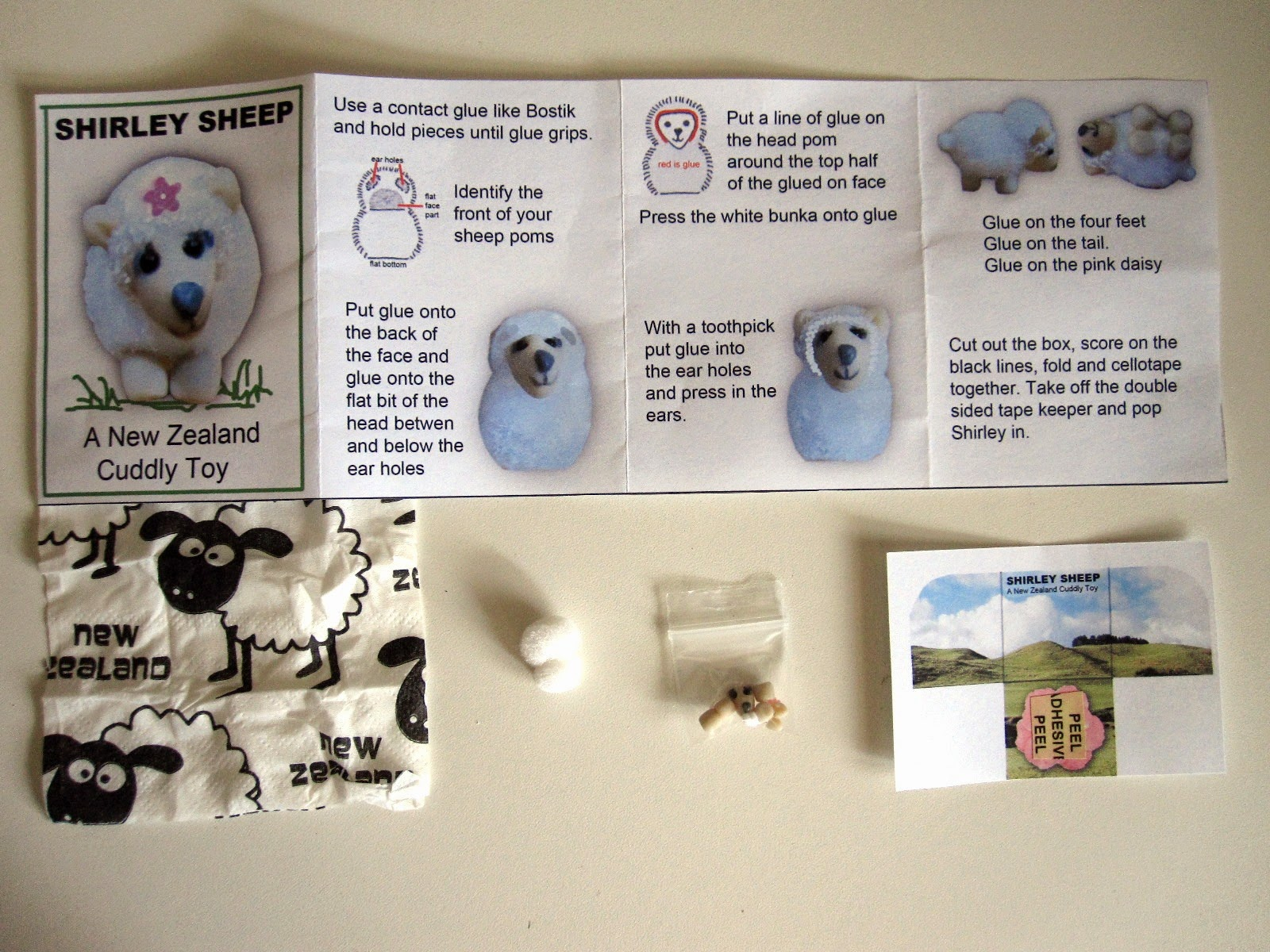Instructions and contents of a miniature 'Shirley Sheep: a New Zealand cuddly toy' kit.