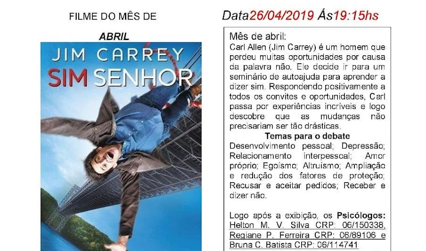 "CINEMA NO DIVÃ DEBATE ""SIM SENHOR"""