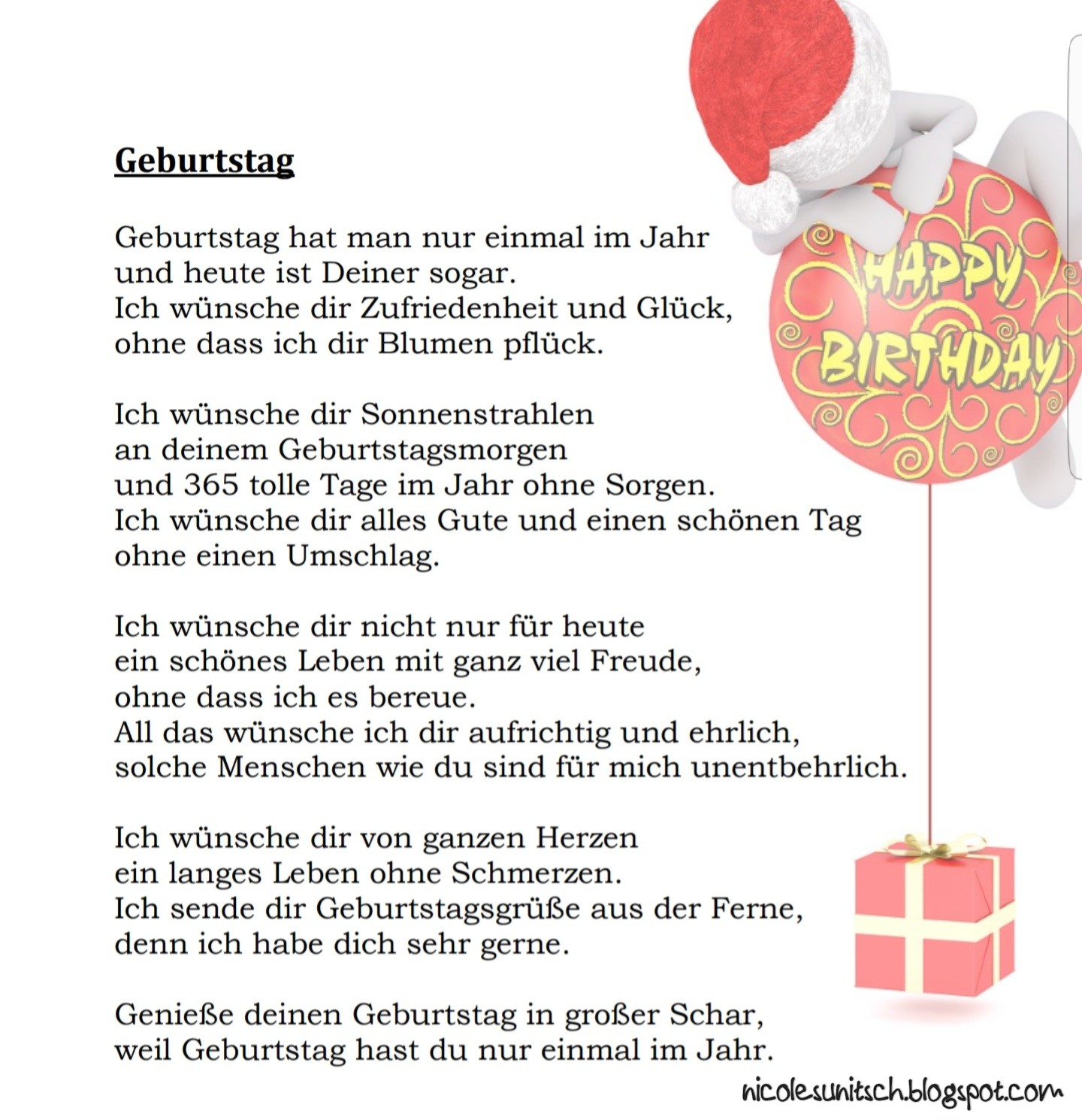 Gedichte von Nicole Sunitsch - Autorin : Geburtstag