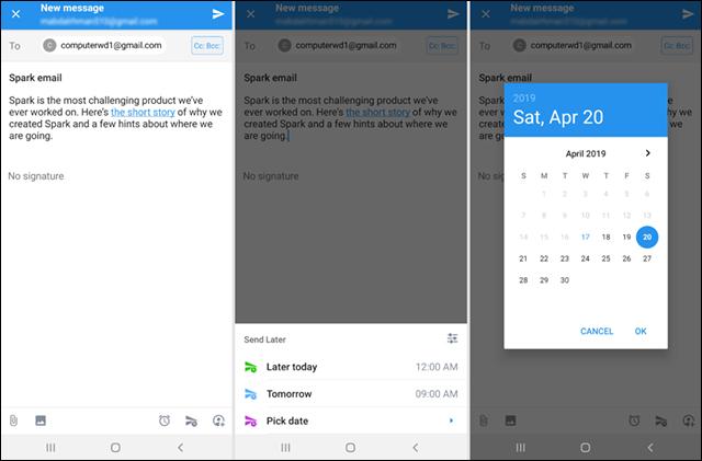 جدولة رسائل Gmail لإرسالها في وقت محدد على الكمبيوتر أو الهاتف Screenshot_20190417-215538_Spark