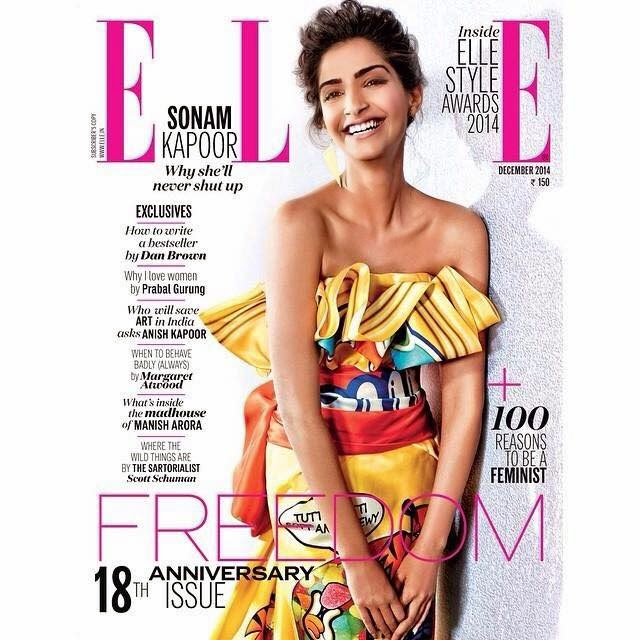 Sonam Kapoor on the cover of Elle India 18th Anniversary Issue