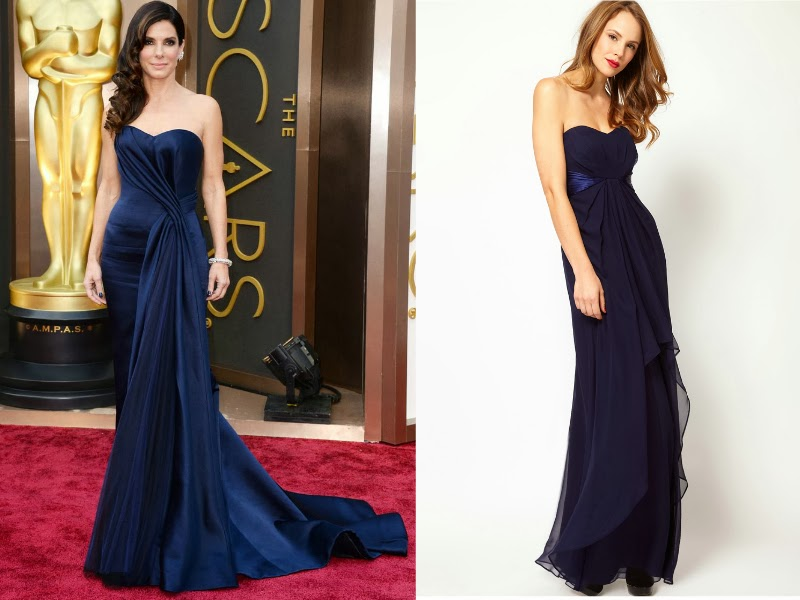 sandra bullock, Sandra Bullock Oscars 2014, Sandra Bullock Alexander McQueen, Oscars 2014 red carpet, Oscars 2014 best dressed list, Steal red carpet style, celebrity look for less. Coast Navy Michegan maxi dress.