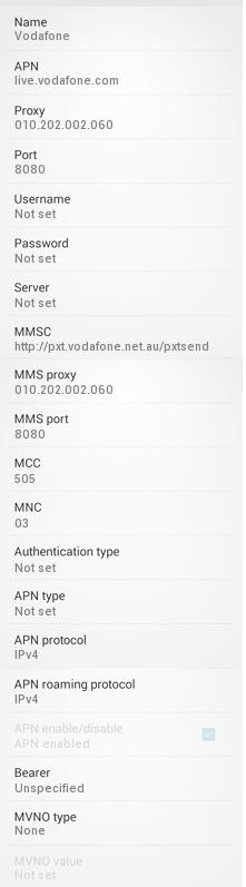 Vodafone Australia APN Settings for Android Samsung Galaxy S3 S4 S5 S6 HTC Desire Wildfire