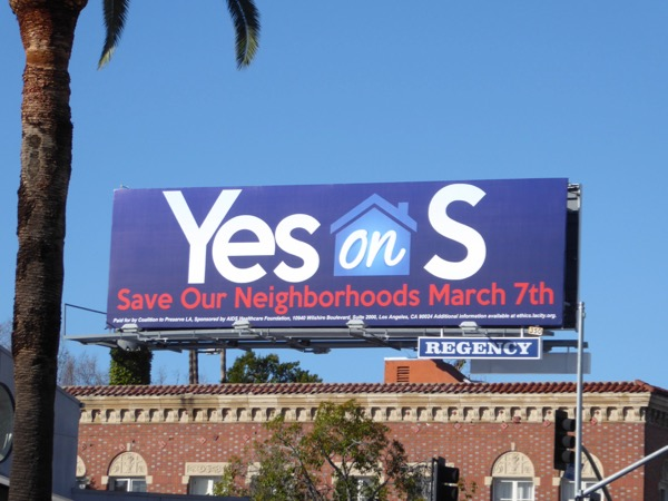 Yes on S billboard