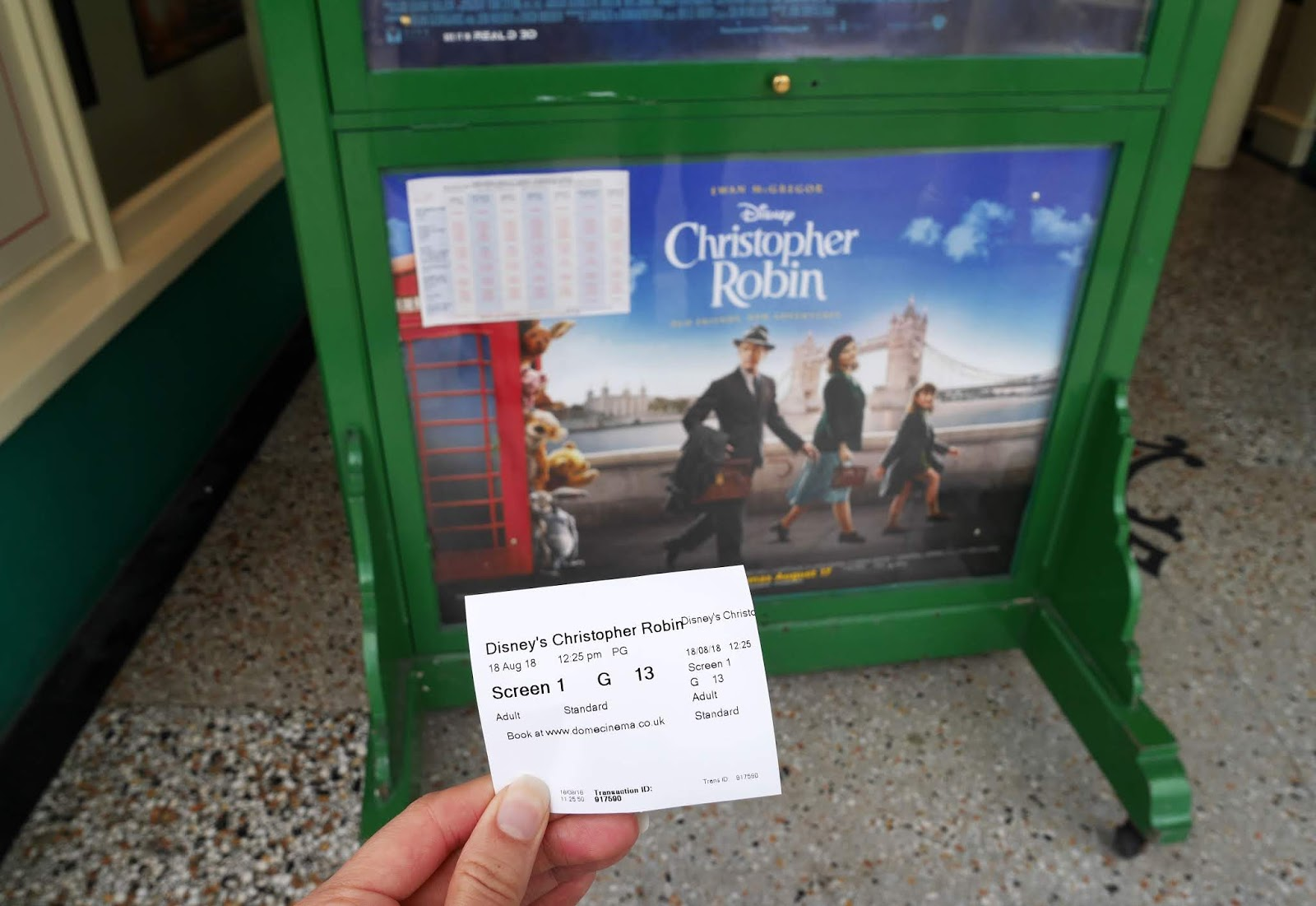 Holding my Christopher Robin cinema ticket outside The Dome Cinema in Worthing