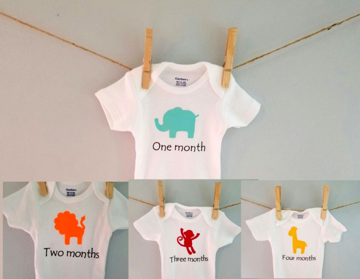 Jungle Theme Baby Clothes Zoo Animals Monthly Onesies Safari