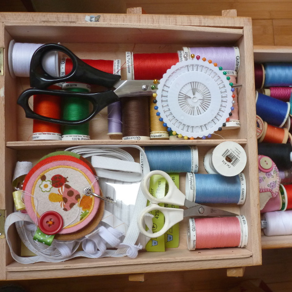 Sewing basket with threads, needles, pins, scissors, elastic and more craftymarie
