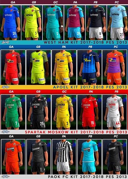 Update PES 2013 Kits Season 2017-2018