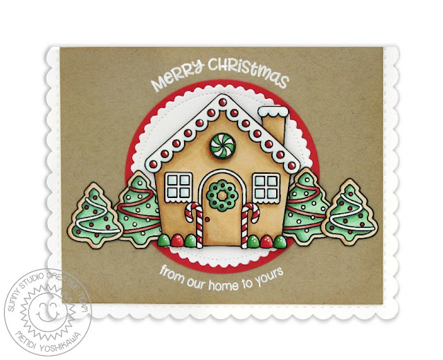 Sunny Studio Stamps: Jolly Gingerbread From Our Home To Yours Kraft Christmas Card by Mendi Yoshikawa