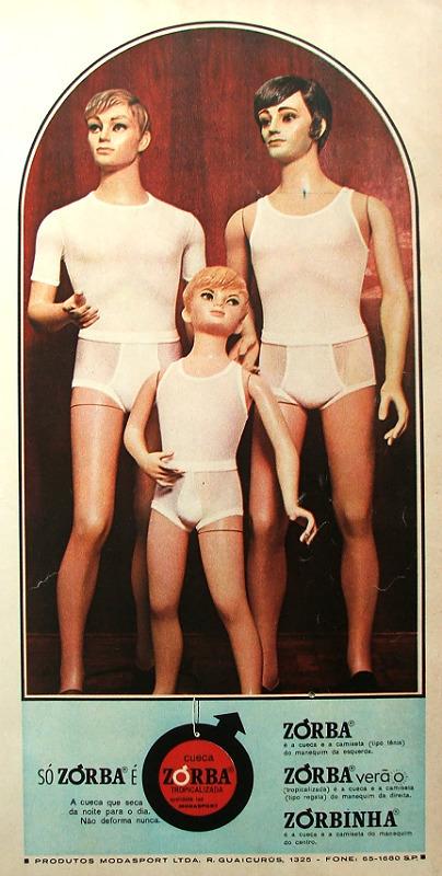 Propaganda antiga da Zorba no final dos anos 60 com três bonecos para promoverem cuecas