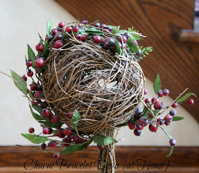 faux red berries grapevine ball topiary