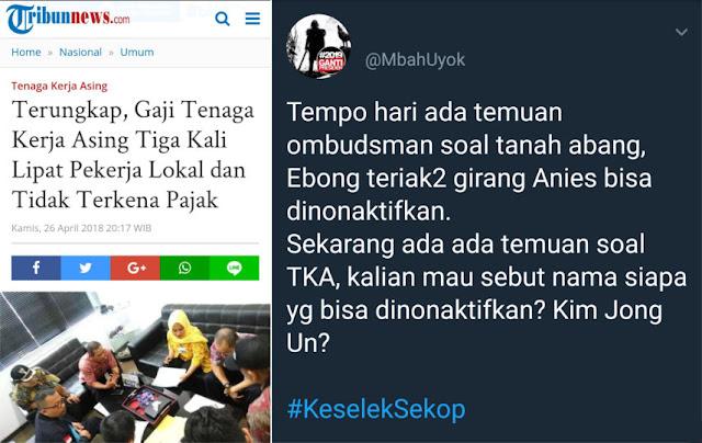 Ombudsman Temukan Gaji TKA Lebih Tinggi, Ini Sindiran Warganet ke Pendukung Jokowi