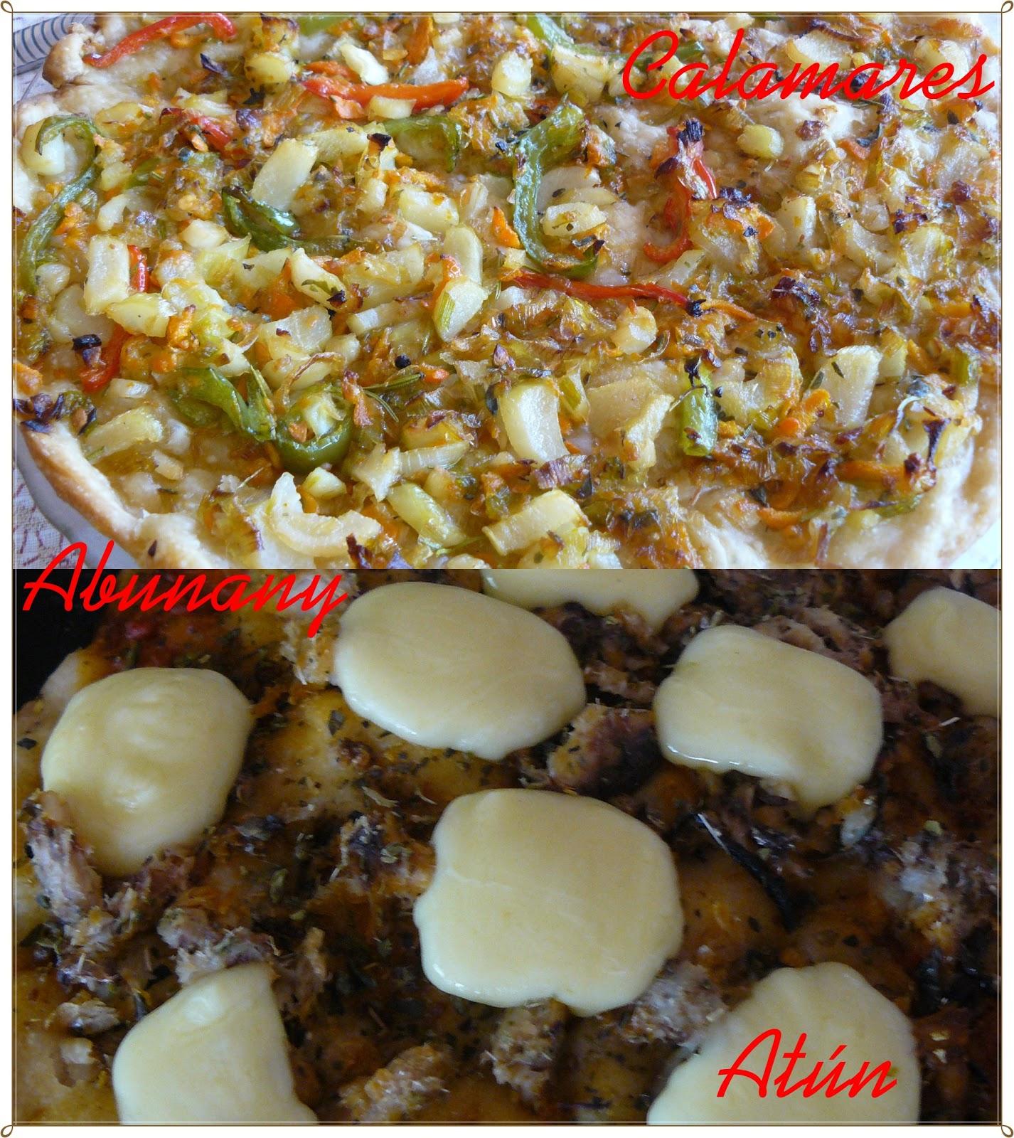 Las Recetas De Abunany Pizza Con Atún Y Otra Con Calamares