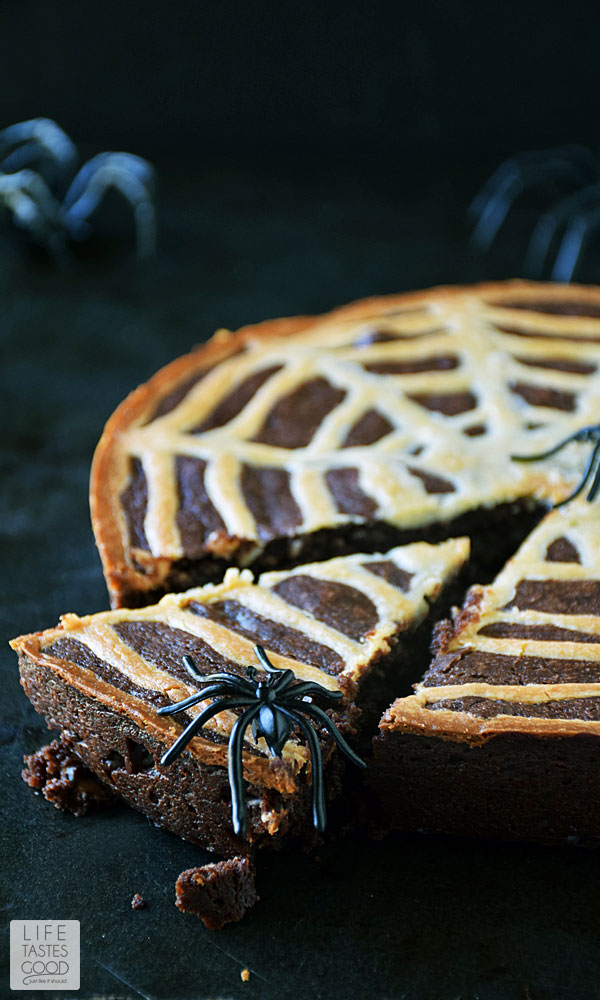 Spiderweb Brownies | by Life Tastes Good are a fun treat to celebrate Halloween. They are rich and chocolaty with a hint of tang from the cream cheese spiderweb on top, and these brownies are just the right amount of spooky to bring out the smiles. #LTGrecipes