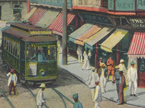 Detail from postcard of Manila's international Escolta district, early 20th c.