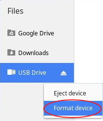 format sd card in chromebook