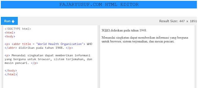 HTML <abbr> untuk Singkatan