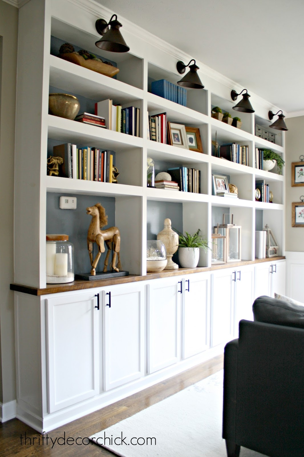 DIY built ins using cabinets