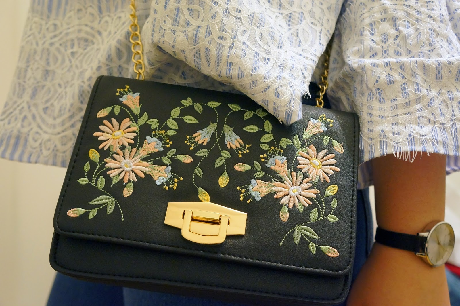 Embroidered floral bag from New Look
