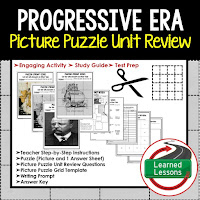 American History Picture Puzzles are great for TEST PREP, UNIT REVIEWS, TEST REVIEWS, and STUDY GUIDES, Progressive Era